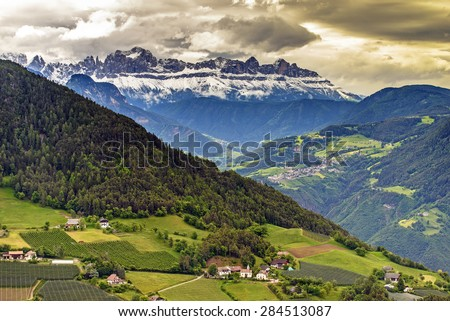 Aerial view of Dolomite from Soprabolzano cable car - stock photo