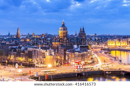 Aerial view of downtown Amsterdam, the Netherlands during sunset. - stock photo