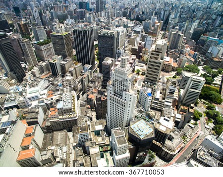 Aerial View of Downtown and Banespa Building in Sao Paulo, Brazil - stock photo