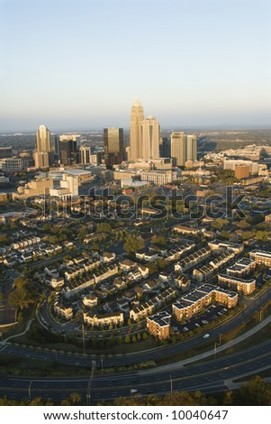 Aerial view of downtown buildings in Charlotte, North Carolina. - stock photo