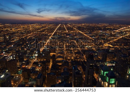Aerial view of downtown Chicago at dusk, looking west. - stock photo