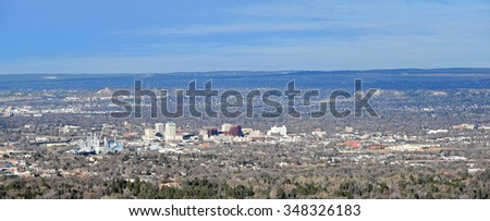 Aerial view of downtown Colorado Springs, Colorado. - stock photo