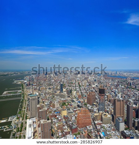 Aerial view of Downtown Manhattan New York  - stock photo