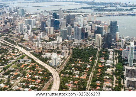 Aerial view of downtown Miami in the USA - stock photo