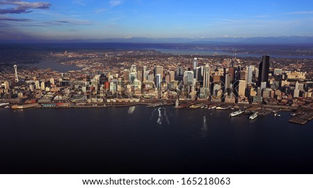 Aerial view of downtown Seattle - stock photo