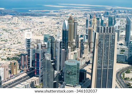 Aerial view of Dubai skyline, UAE. - stock photo