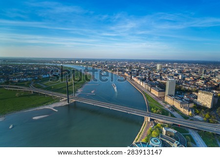 Aerial view of Dusseldorf city in North Rhine-Westphalia Germany - stock photo