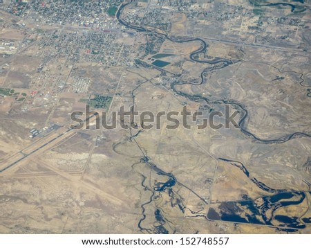 Aerial view of earth - stock photo