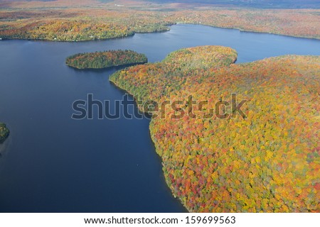 Aerial view of Eastern Townships in Quebec during foliage season, Yamaska Provincial Park - stock photo