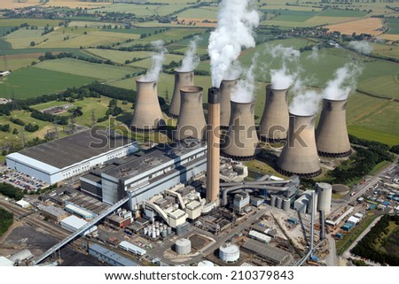 aerial view of Eggborough Power Station, Yorkshire, UK - stock photo