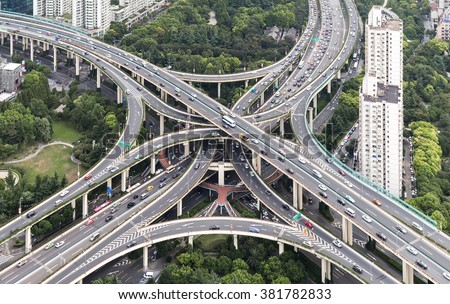 Aerial View of  elevated highway and overpass in Modern City - stock photo