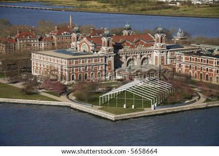 Aerial view of Ellis Island, New York City. - stock photo