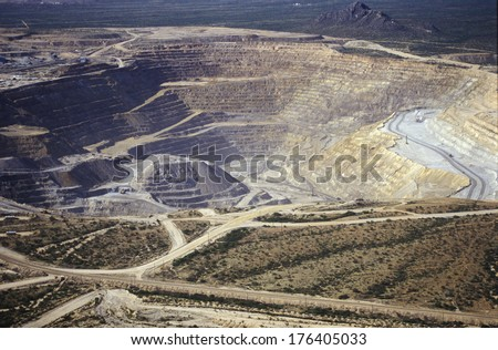Aerial view of environmental damage caused by copper mining in Tucson, AZ - stock photo