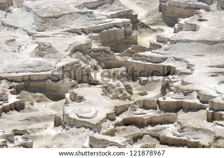Aerial view of eroded wadi near Dead Sea in Judea desert, Israel. - stock photo