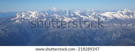 Aerial View of European Alps - stock photo