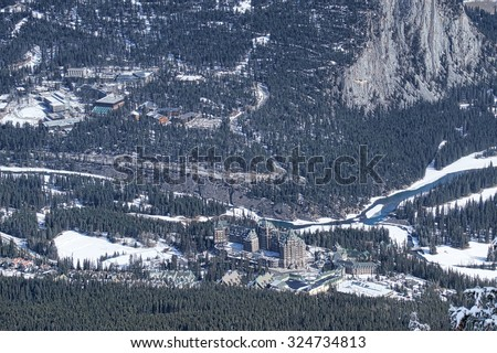 Aerial view of Fairmont Banff Springs and Banff Canada - stock photo