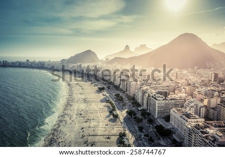 Aerial view of famous Copacabana Beach in Rio de Janeiro, Brazil - stock photo