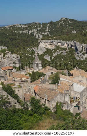 Aerial view of famous village Les Baux-de-Provence (Provence, France). Vertically. - stock photo