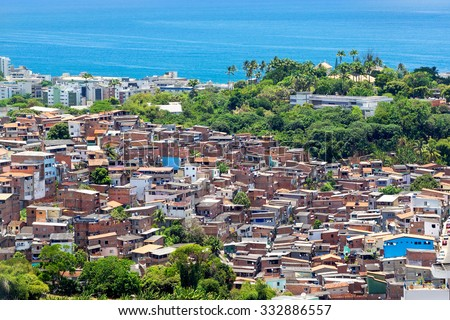 Aerial view of favela (shanty town) in Salvador, Bahia, Brazil. - stock photo