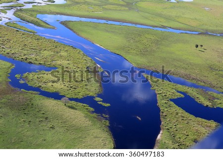 Aerial view of Fish Eating Creek in the Florida Everglades. - stock photo