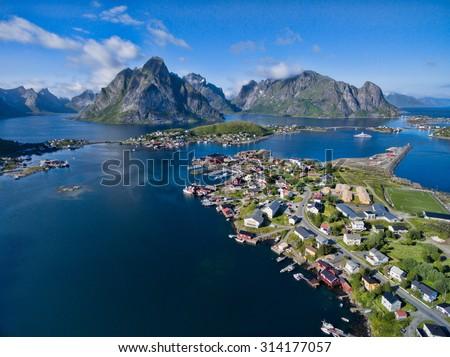 Aerial view of fishing village Reine on Lofoten islands, Norway - stock photo