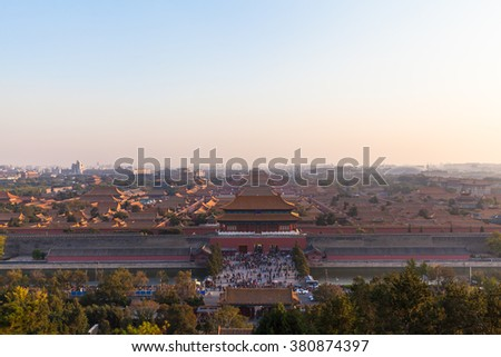 Aerial view of Forbidden City in Peking from top of Jingshan Hill at dusk, Beijing, China - stock photo