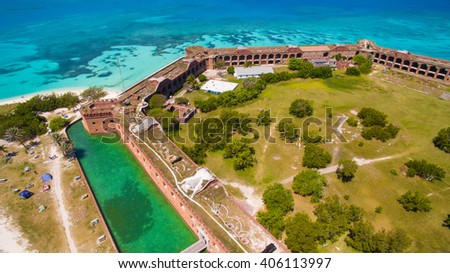 aerial view of Fort Jefferson in the Dry Tortugas National Park, Florida - stock photo