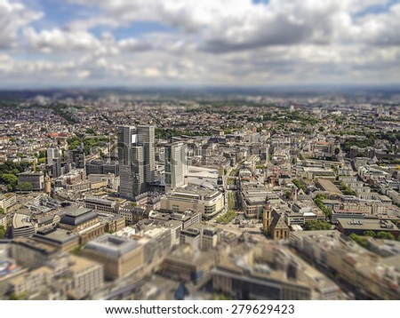 aerial view of Frankfurt am Main city centre, intentional tilt shift blur - stock photo