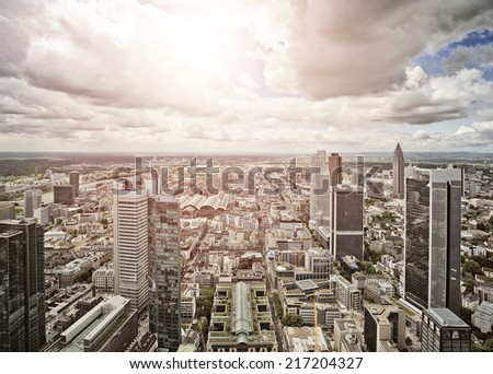 aerial view of Frankfurt am Main, Germany - stock photo