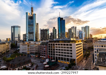 Aerial view of Frankfurt with Hauptwachen in a summer day in  Frankfurt, Germany - stock photo