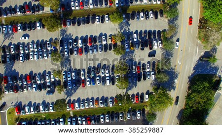 Aerial view of full parking lots. - stock photo
