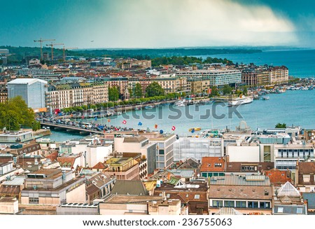 Aerial view of Geneva Old Town - stock photo