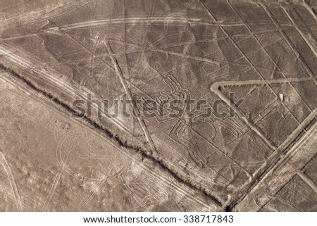 Aerial view of geoglyphs near Nazca - famous Nazca Lines, Peru. In the center, Spider figure is present. - stock photo