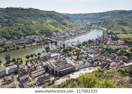 Aerial view of German city Cochem along the river Moselle - stock photo