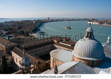 Aerial view of Giudecca island and Canale della Giudecca from San Giorgio di Maggiore - Venice, Venezia, Italy, Europe - stock photo