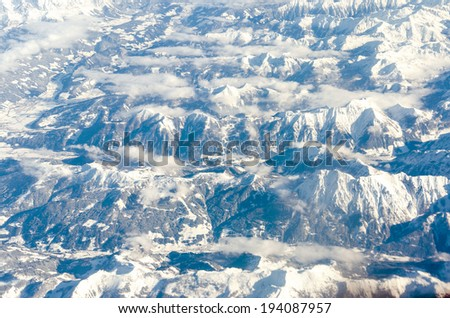 Aerial view of Glacier in the Alps Mountain Range - stock photo
