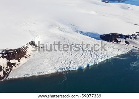 Aerial View of Glaciers (flowing into Arctic Ocean) - stock photo