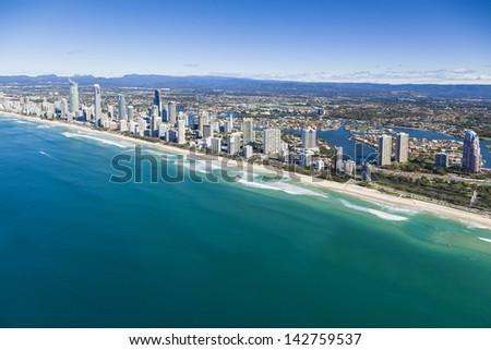 Aerial view of Gold Coast, Queensland, Australia - stock photo