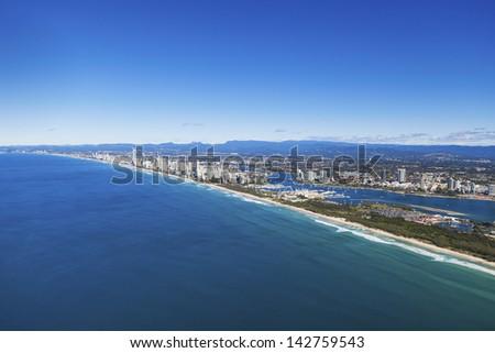 Aerial view of Gold Coast, Queensland, Australia - stock photo