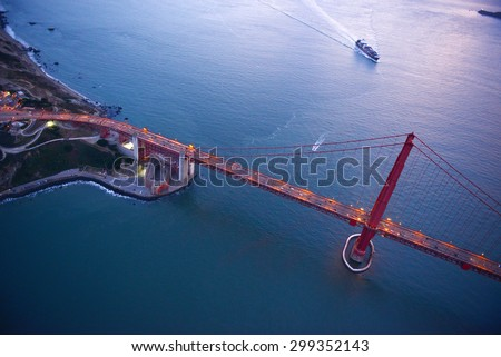 aerial view of golden gate bridge  - stock photo
