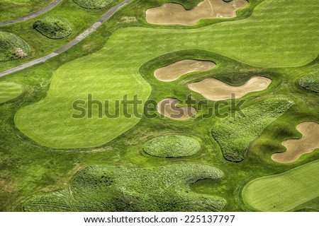 Aerial view of golf course - stock photo