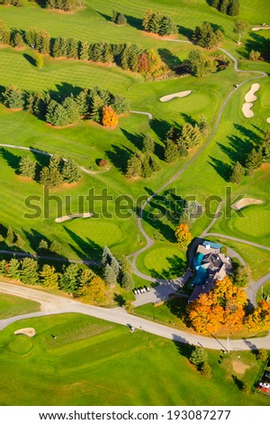 Aerial view of golf course,  Vermont, USA - stock photo