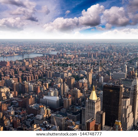 Aerial view of Gramercy and East Village at sunset, New York City. - stock photo