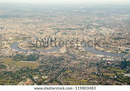 Aerial view of Greenwich, the Thames and surrounding area - stock photo