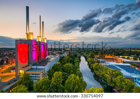 Aerial view of Hannover, Germany - stock photo