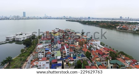 Aerial view of Hanoi skyline at West Lake ( Ho Tay in Vietnamese), at twilight - stock photo