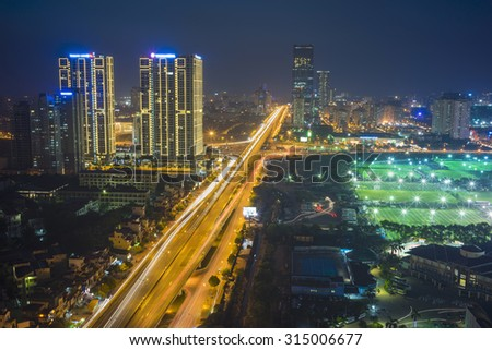 Aerial view of Hanoi skyline cityscape at night. Khuat Duy Tien street. 3 belt street - stock photo
