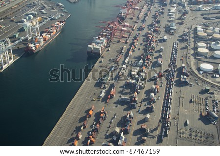 Aerial View of Harbor Island and the Port of Seattle - stock photo