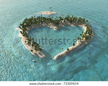 aerial view of heart-shaped tropical island - stock photo