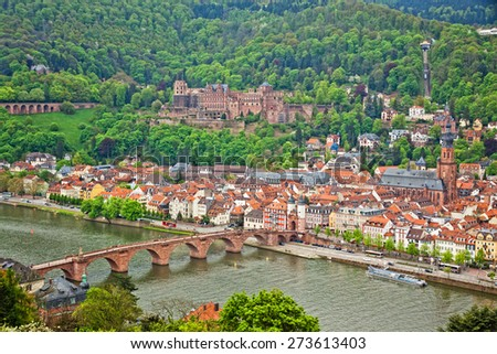 Aerial view of Heidelberg old town and Neckar river, Baden-Wurttemberg state, Germany - stock photo
